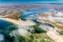 Aerial view of Drakes Bay in Point Reyes, CA.