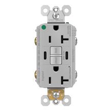 radiant 20A Hospital Grade Tamper Resistant Self Test GFCI USB Type CC Outlet, Gray