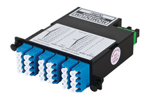 24-FIBER OS2 M4 CASSETTE WITH 24 LC QUAD ADAPTERS TO 2 MPO M- TIER 1- METHOD B- NEAR END