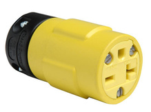 20A, 250V Rubber Dust-Tight Connector, Yellow