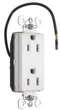 PlugTail® Split Circuit Tamper-Resistant Decorator Spec Grade Receptacle, 15A, 125V, White