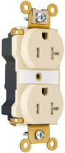 PlugTail® Industrial Extra Heavy-Duty Spec Grade Tamper-Resistant Receptacles, 20A, 125V, Light Almond