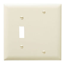 Combination Openings, 1 Toggle Switch & 1 Blank, Two Gang, Light Almond