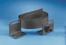 Computer tie-down kit - black - hook and loop type strap and two mounting plates with rubber bumpers
