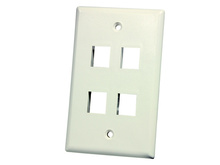 SINGLE GANG PLASTIC RESI FACEPLATE, HOLDS FOUR KEYSTONE JACK OR MODULE