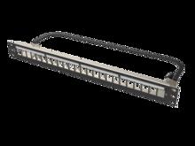 Clarity HDJ 24-Port, 1RU Shielded High Density Jack, Unloaded Flat Panel - Black