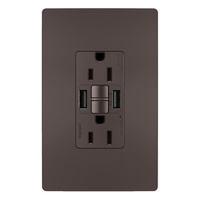radiant® 15A Tamper-Resistant Self-Test GFCI USB Type-AA Outlet, Brown