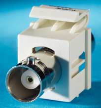 BNC connector Keystone module, 180 degree exit, F/F, (50 ohm), Wiremold Ivory