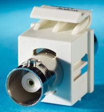 BNC connector Keystone module, 180 degree exit, F/F, (50 ohm), Fog White