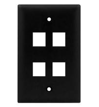 1-Gang, 4-Port Wall Plate, Black
