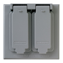 Cast Weatherproof Cover Oversized Duplex Receptacle Horizontal, Gray