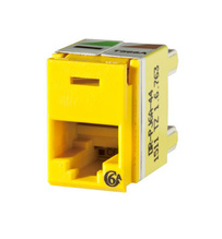 Clarity Cat6a Panel Jack,T568A/B,8 pos, Yellow 180 degree