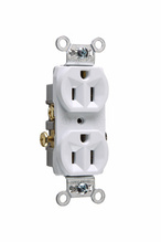 Commercial Spec Grade Receptacle, Side Wire, 15A, 125V, White