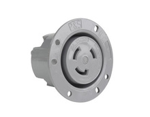 30 Amp NEMA L1030 Flanged Outlet, Gray