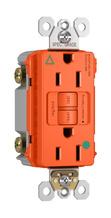 Hospital-Grade Isolated Ground Tamper-Resistant 15A Self-Test Duplex GFCI, Orange
