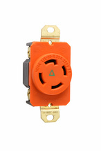 30 Amp NEMA L1530 Single Receptacle, Orange, Isolated Ground