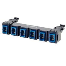 HDJ Series 6 SC to SC Simplex Fiber Adapter Panel, 6-Fiber OS2 - Blue