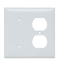 Combination Openings, 1 Blank & 1 Duplex Receptacle, Two Gang, White