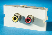 Series II, 2-Phono Jacks/RCA (110 IDC), 180 degree, Wiremold Ivory