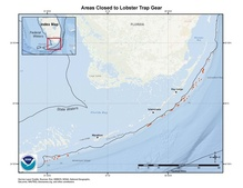 This is a map showing areas closed to lobster trap gear to protect spiny lobster off the Florida Keys.