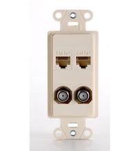 Pre-Configured 4-Port Strap, Phone/Data, TV/Aux, Light Almond
