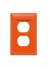 Pad Printed Wall Plate, Isolated Ground, One Gang Duplex Receptacle, Orange