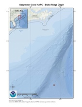 This is a map of the Blake Ridge Diapir Deepwater Coral HAPC in the South Atlantic Region.