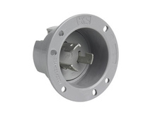 30 Amp Non-NEMA 3 Wire Flanged Inlet, Gray
