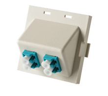 Series II Module, 2-LC Duplex (4 Fibers) Multimode, Aqua adapters, 45 degree exit