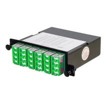 24-FIBER OS2 M4 CASSETTE WITH 6 LC QUAD- ANGLE POLISH- ADAPTERS TO 3 MPO F- TIER 1- UNIVERSAL POLARITY FLIPPED- GREEN