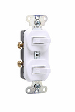 Discontinued | Two Non-Grounding Single-Pole Combination Switches, White | Sub 670WG