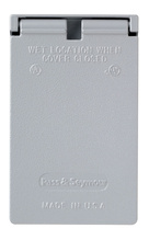 Cast Weatherproof Cover Single Receptacle, Vertical, Gray