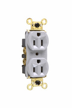 Weather-Resistant Heavy-Duty Spec Grade Receptacles, Back & Side Wire, 15A, 125V, Gray