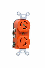 15 Amp NEMA L515 Duplex Receptacle, Orange, Isolated Ground