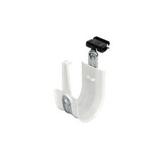 2'' White Plastic Coated J-Hook w/ Latch & Knock-on Beam Clip 1/8-1/4'' Box of 25 [F000681]