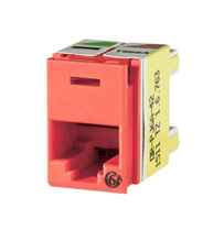 Clarity Cat6a Panel Jack,T568A/B,8 pos, Red 180 degree