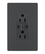 radiant® 15A Tamper-Resistant Self-Test GFCI USB Type-CC Outlet, Graphite, 4-Pack