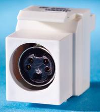 S-Video Keystone module, (4-pin DIN) to 110, Fog White