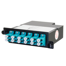 12-FIBER OM4+ M4 CASSETTE WITH 12 LC DUPLEX ADAPTERS TO 1 MPO M- TIER 3- METHOD B- FAR END