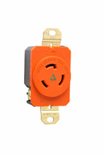 20 Amp NEMA L620 Single Receptacle, Orange, Isolated Ground