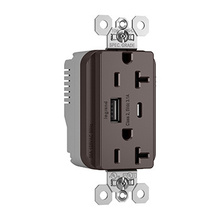 PlugTail® Commercial Specification Grade 20A USB Charging Receptacles, Brown
