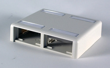 SERIES II PLASTIC SURFACE MOUNT BOX FOR TWO 4 UNIT MODULES, TWO SIDED, WITH COVER