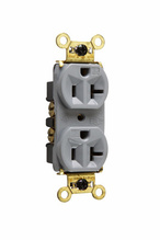 Weather-Resistant Heavy-Duty Spec Grade Receptacles, Back & Side Wire, 20A, 125V, Gray