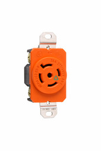 20 Amp NEMA L2220 Single Receptacle, Orange, Isolated Ground