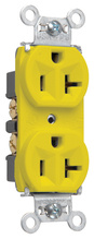 Hard Use Spec Grade Receptacle, Back & Side Wire, 20A, 125V, Yellow