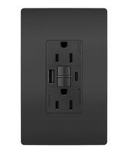 radiant® 15A Tamper-Resistant Self-Test GFCI USB Type-AC Outlet, Black