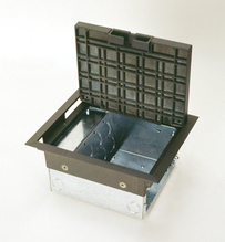 AC SeriesTM AC8105 Six Gang Raised Floor Box with Gray Carpet Style Lid