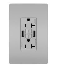 radiant® 20A Tamper-Resistant Self-Test GFCI USB Type-AA Outlet, Gray
