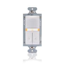 Dual Relay Wall Switch Vacancy Sensor w/Nightlight, 600W, Almond