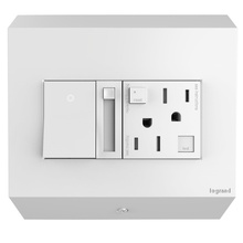 adorne® Control Box with Paddle™ Dimmer and 15A GFCI Outlet